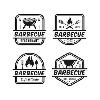 Collezione di loghi dal design premium per barbecue