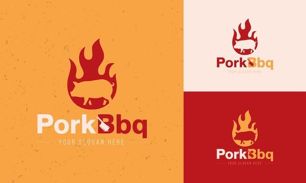 Concetto di logo del ristorante barbecue di un incendio con un maiale