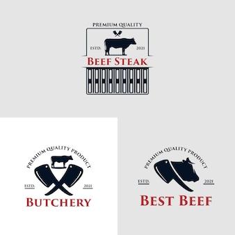 Concetto di logo del ristorante barbecue con un maiale vettore premium