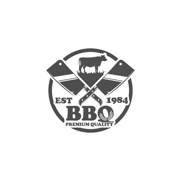 Ristorante barbecue logo design vettoriale