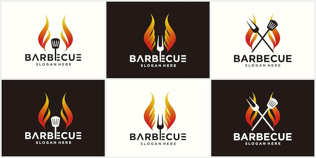 Barbecue spatola logo design grill cibo fuoco e spatola concetto modello illustrazione vettoriale