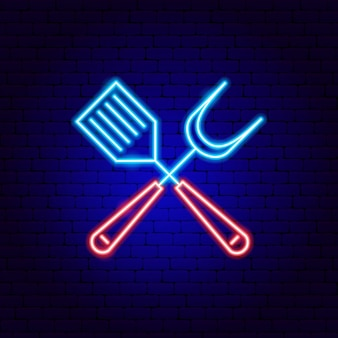 Barbecue spatula insegne al neon. illustrazione vettoriale di promozione barbecue.