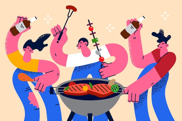 Concetto di divertimento festa estiva barbecue. un gruppo di giovani amici positivi che fanno barbecue salsicce arrosto e carne che bevono birra divertendosi insieme illustrazione vettoriale