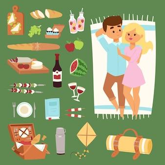 Barbecue picnic estivo menzogna uomo e donna bella coppia icone. coppia adulta su picnic barbecue plaid all'aperto icone romantico cibo da picnic estivo