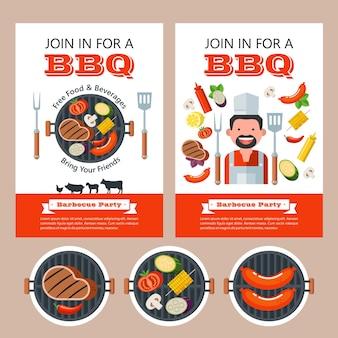 Barbecue, illustrazione vettoriale con spazio per il testo. deliziosa bistecca alla griglia, forchetta e spatola.