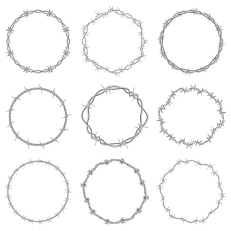 Cornici di filo spinato set di illustrazioni vettoriali per cornici di filo spinato rotonde per carceri circolari