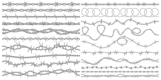 Filo spinato rasoio metallico recinzione filo industriale o prigione filo senza cuciture bordi set vettoriale vector
