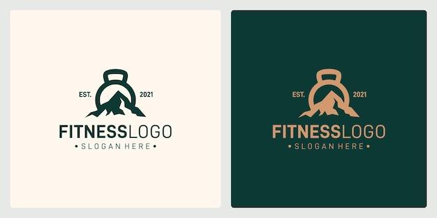 Forma del bilanciere e del logo della montagna. premio di vettore.