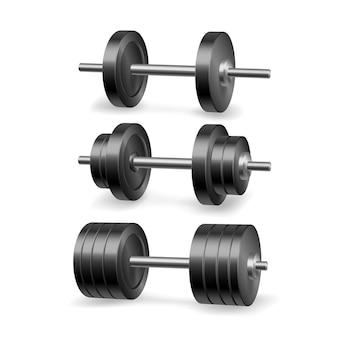 Set di bilancieri. manubri realistici. palestra fitness e attrezzature per il bodybuilding. sport allenamento 3d realistico.