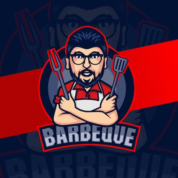 Carattere della mascotte dello chef del barbecue per il design del logo del pasto alla griglia del barbecue