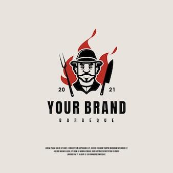 Modello di logo di barbecue