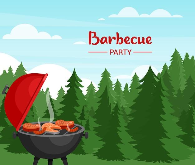 Festa barbecue in illustrazione piatta foresta. modello di banner barbecue all'aperto con tipografia.