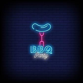 Testo di stile delle insegne al neon del partito del barbecue