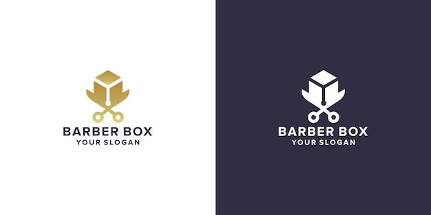 Modello di logo della scatola del barbiere