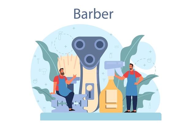 Concetto di barbiere in design piatto