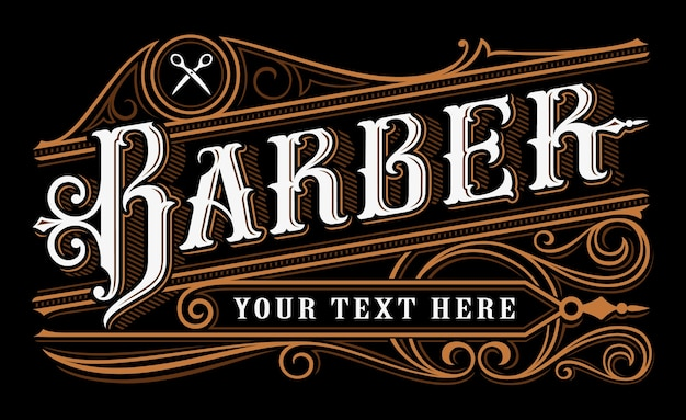 Lettering del barbiere. logo vintage del barbiere su sfondo scuro. tutti gli oggetti sono nel gruppo separato.