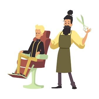 Barbiere o parrucchiere maschio e suoi personaggi dei cartoni animati del cliente, piatto