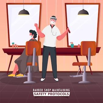 Uomo barbiere con il suo cliente seduto alla sedia in negozio e mantenere i protocolli di sicurezza durante il coronavirus.