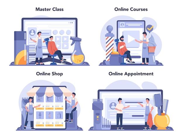 Servizio online di barbiere o set di piattaforme