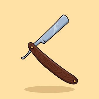 Concetto di oggetto del rasoio da barbiere cartoon icon vector