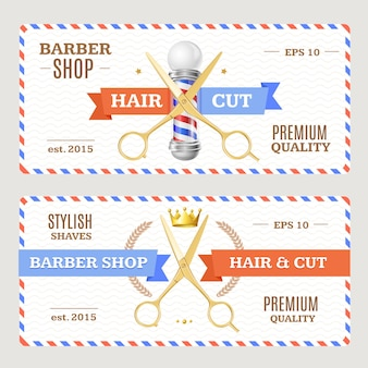 Volantini di banner del negozio di barbiere. orizzontale.