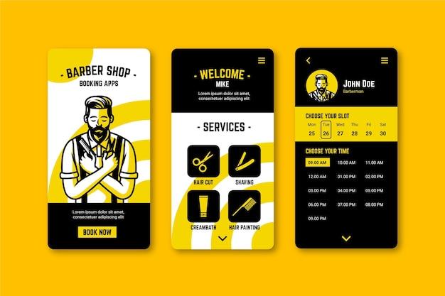 Modello di app di prenotazione del negozio di barbiere