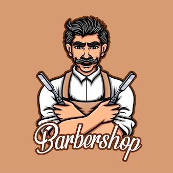 Design del logo del personaggio del negozio di barbiere