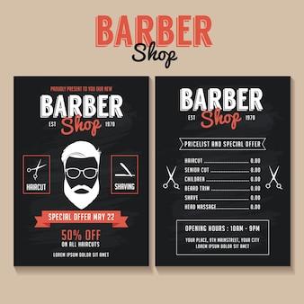 Modello di volantino del negozio di barbiere con un listino prezzi e un'offerta speciale