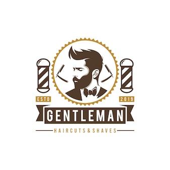 Logo di tagli di capelli del negozio di barbiere