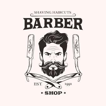 Logo del negozio di barbiere su sfondo chiaro