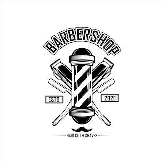 Modello di logo del negozio di barbiere