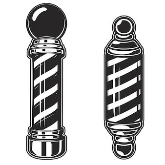 Illustrazioni del palo del negozio di barbiere su fondo bianco. elemento per poster, emblema, segno, distintivo. illustrazione