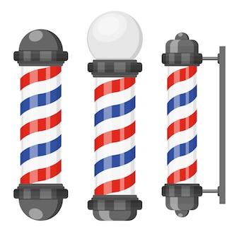 Pali del negozio di barbiere con strisce in stile piatto
