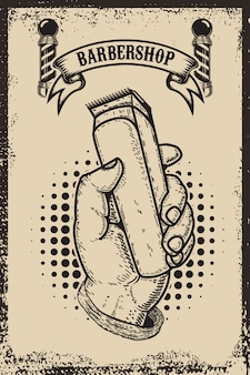 Modello del manifesto del negozio di barbiere. mano umana con tosatrice. elemento per carta, volantino. illustrazione