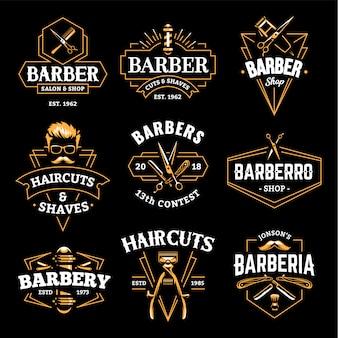 Emblemi retrò di barber shop
