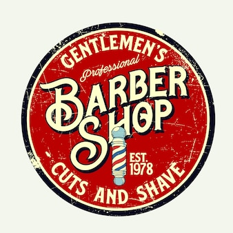 Grafico del segno retrò del negozio di barbiere