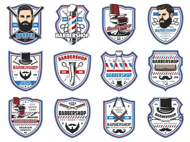 Insegne di barbiere, baffi e salone di rasatura della barba