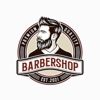 Illustrazione di design del logo vintage negozio di barbiere
