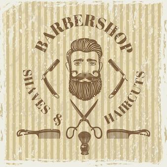 Manifesto dell'annata del negozio di barbiere.