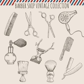 Collezione di strumenti vintage negozio di barbiere. illustrazione disegnata a mano a matita