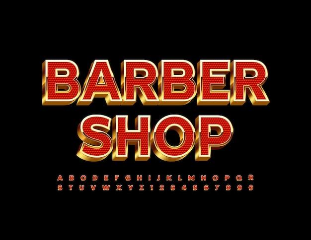 Barber shop con lettere e numeri dell'alfabeto rosso e oro impostati font chic 3d