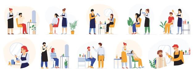 Barbieri, parrucchieri, parrucchieri salone di bellezza, servizio barbiere. clienti che visitano l'insieme dell'illustrazione di vettore del salone di parrucchiere. lavoratori e clienti del salone di parrucchieri
