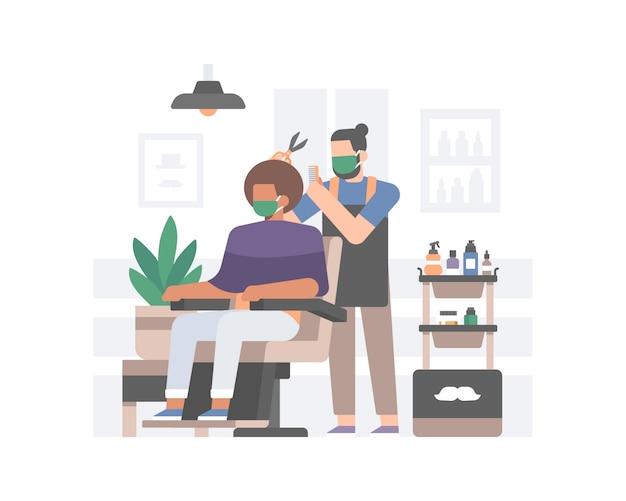 Barbiere che applica protocolli sanitari sicuri in una nuova normalità dopo l'illustrazione della pandemia di coronavirus