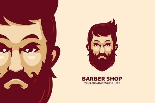 Modello di logo mascotte dei cartoni animati da barbiere