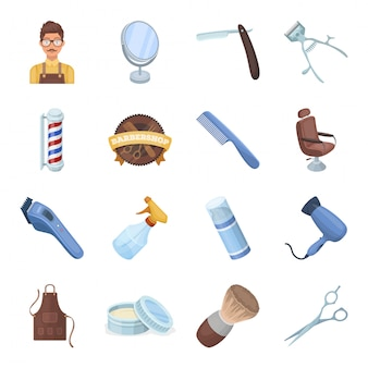 Icona stabilita del fumetto del barbiere. negozio e salone. barbiere stabilito dell'icona del fumetto isolato.