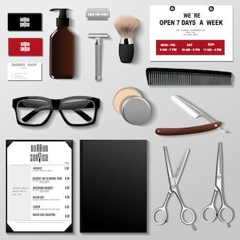 Insieme di progettazione del modello di identità corporativa del barbiere. modello di branding ,.