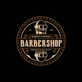 Barbiere modello elegante e lussuoso logo vintage cerchio design premium