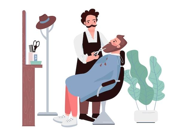 Caratteri di colore piatto da saloni di parrucchiere. uomo che taglia la barba. stilista maschio che taglia i peli del viso. hipster che ottiene taglio di capelli. trattamento di parrucchiere. illustrazione del fumetto isolata procedura di salone di bellezza