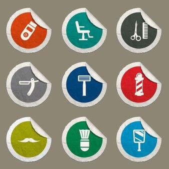 Set di icone da barbiere per siti web e interfaccia utente