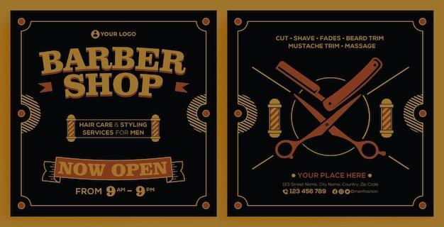Modello di instagram per la promozione del negozio di barbiere in stile design moderno